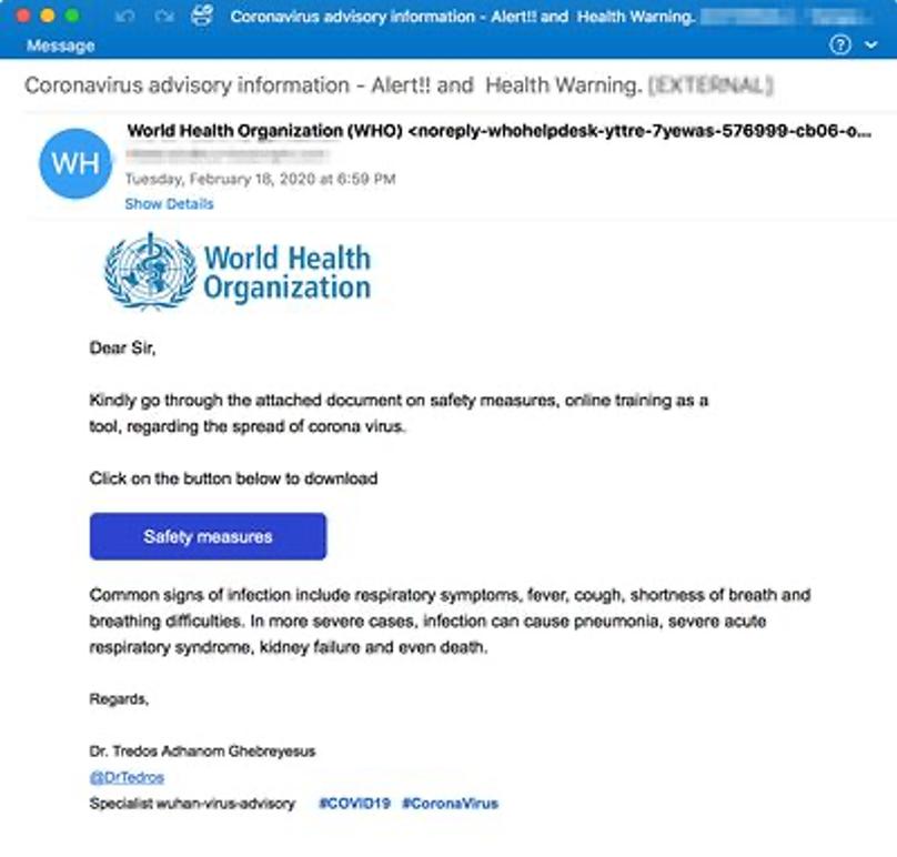 Coronavirus Phishing Email