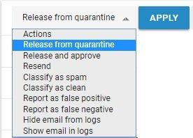 Release from quarantine - Spambrella