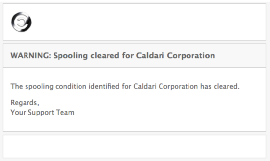 Spooling Alert Email Clear - Spambrella