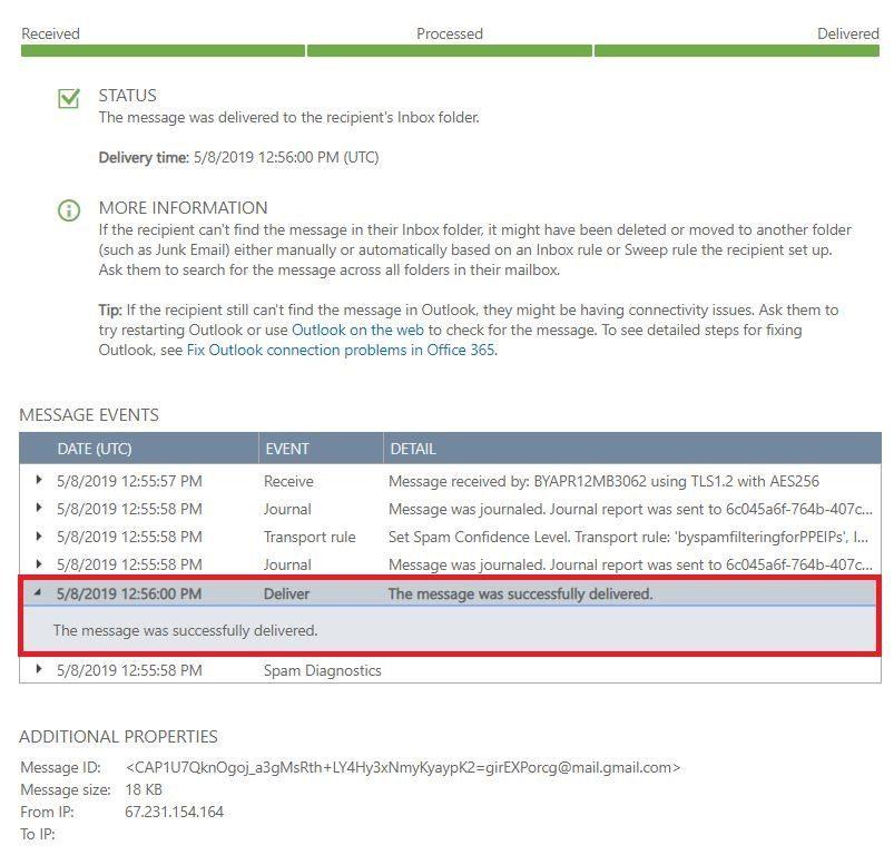 Trace Result Office365 - Spambrella